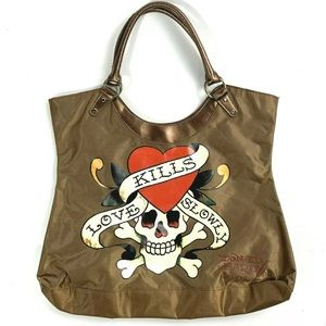 Ed Hardy Love Kills Slowly Bronze Handbag Tote
